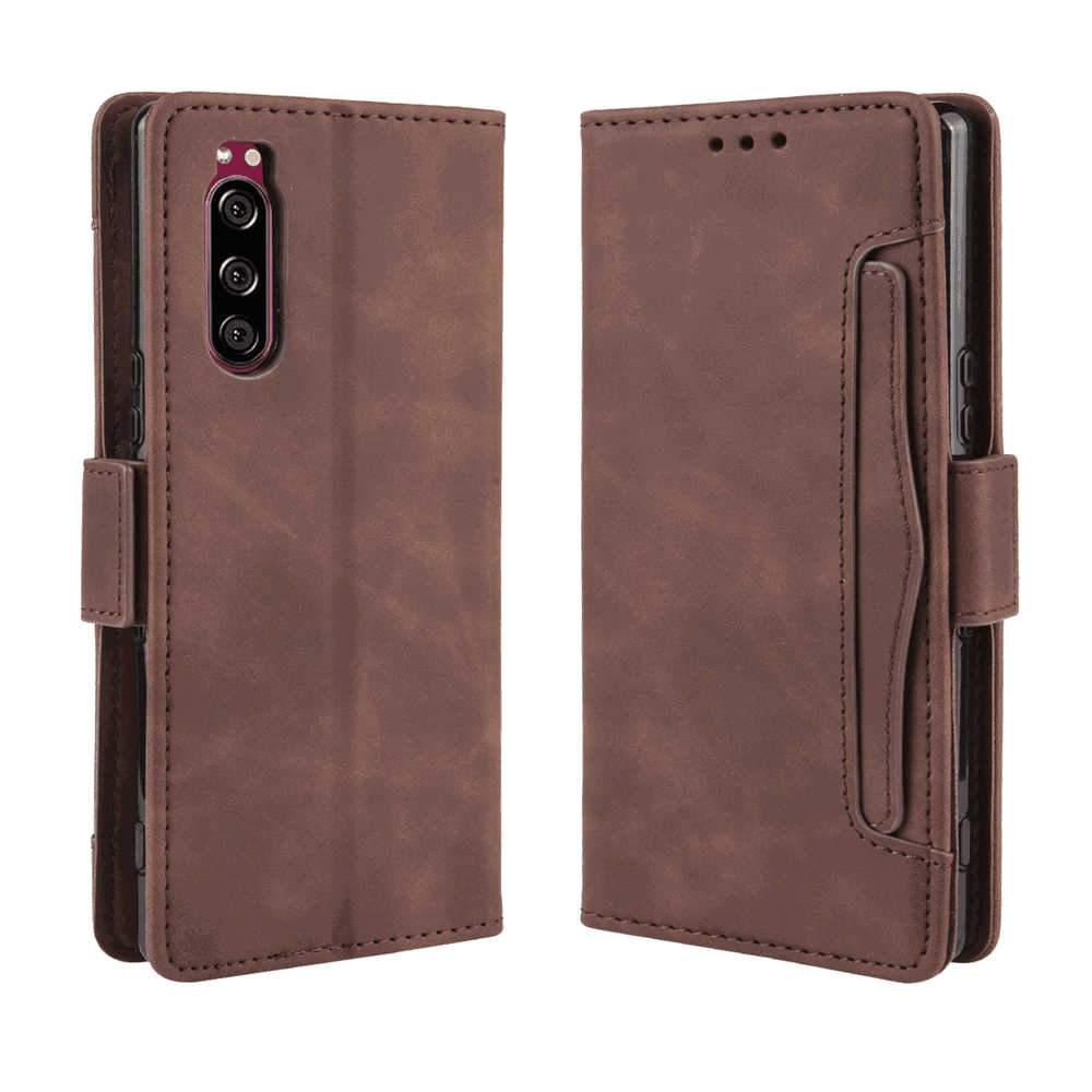 Sony Xperia 5 Wallet Case with Card Cash Slots Leather Magnetic Flip Protective Cover Brown