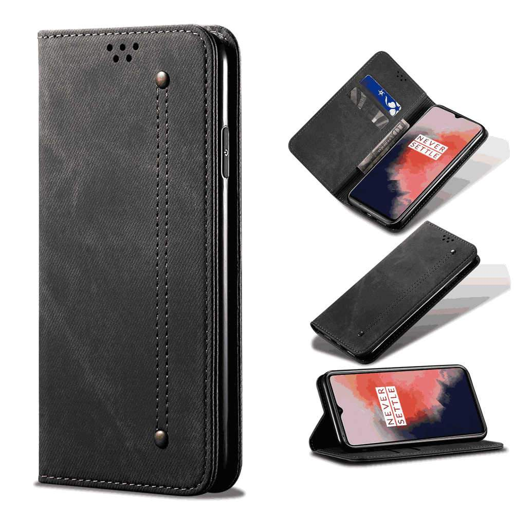 Oneplus 7T Wallet Case with Credit Card Slots Vintage Wallet Protective Cover Black