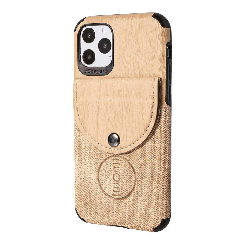 iPhone 11 6.1 Inch Leather Wallet Case Wood Grain Texture Shockproof Cover with Card Holder Gold