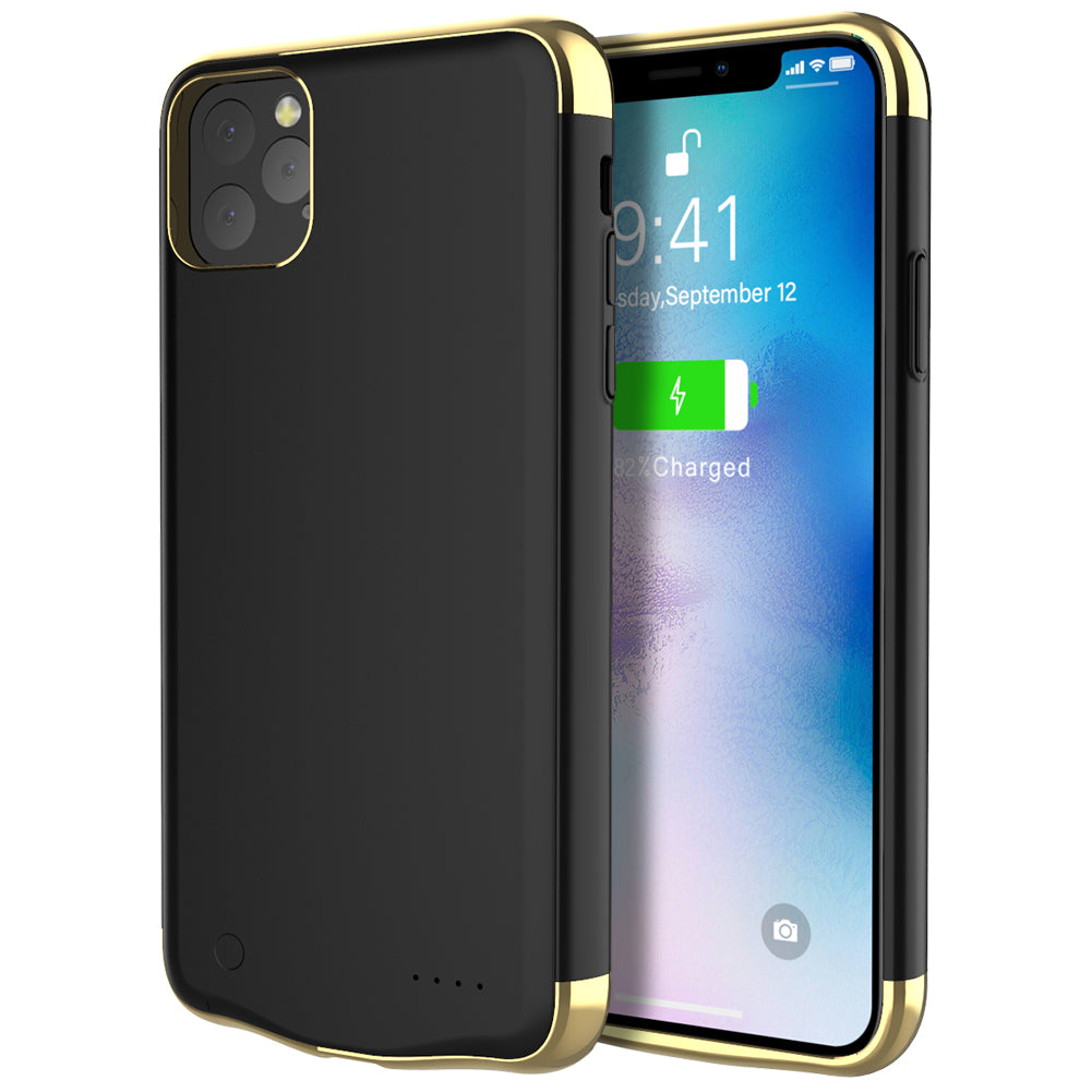 iPhone 11 pro max Battery Case 6000mAh Rechargeable Battery Pack Charger Case Backup Black