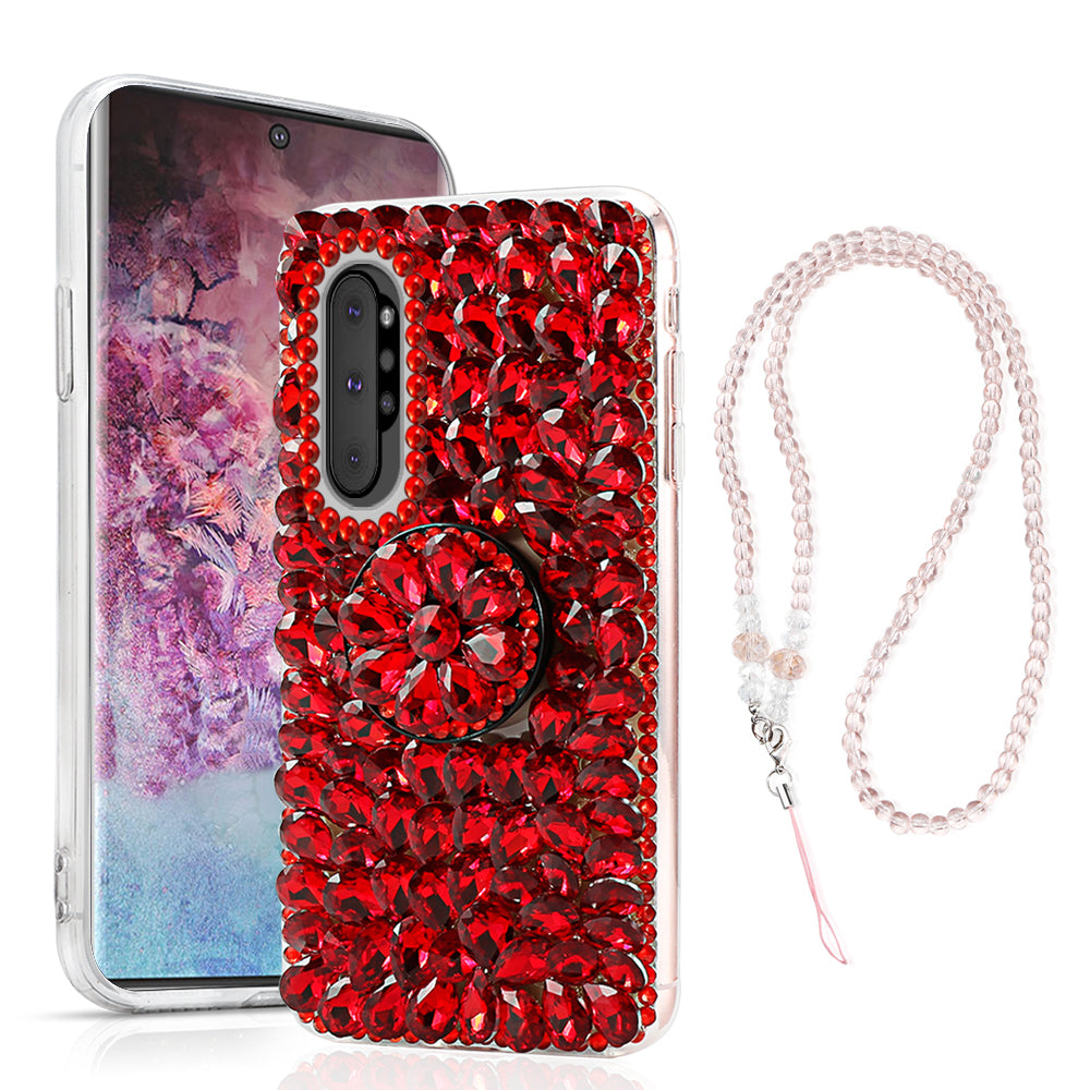 Glittering Case for Galaxy Note 10 plus Crystals Rhinestone Cover with Bracket Red