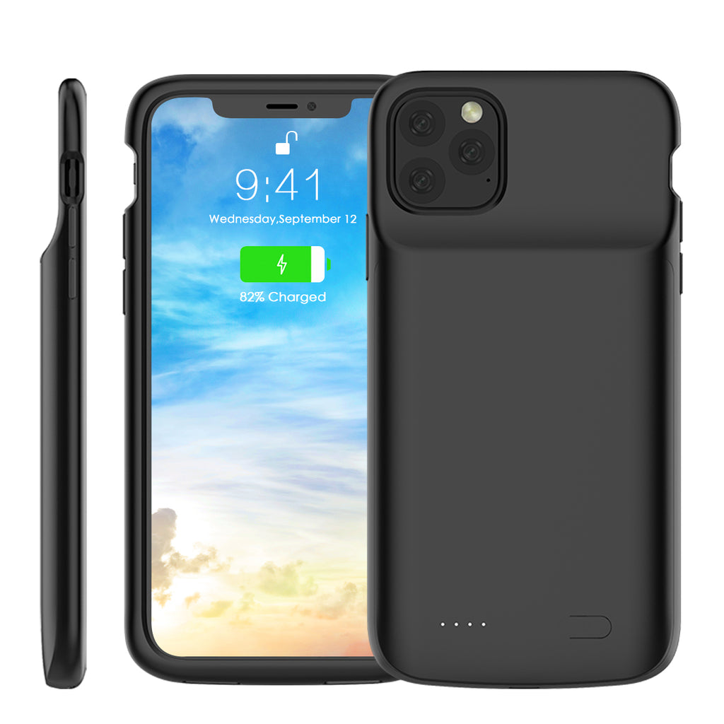 iPhone 11 pro max Charging Case 5000mAh Extended Rechargeable Battery Cover Backup Black