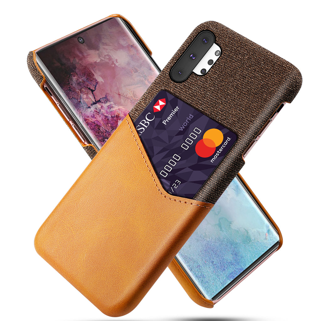 Card Case for Galaxy Note 10 Plus Fabric Phone Cover with Card Holder Orange