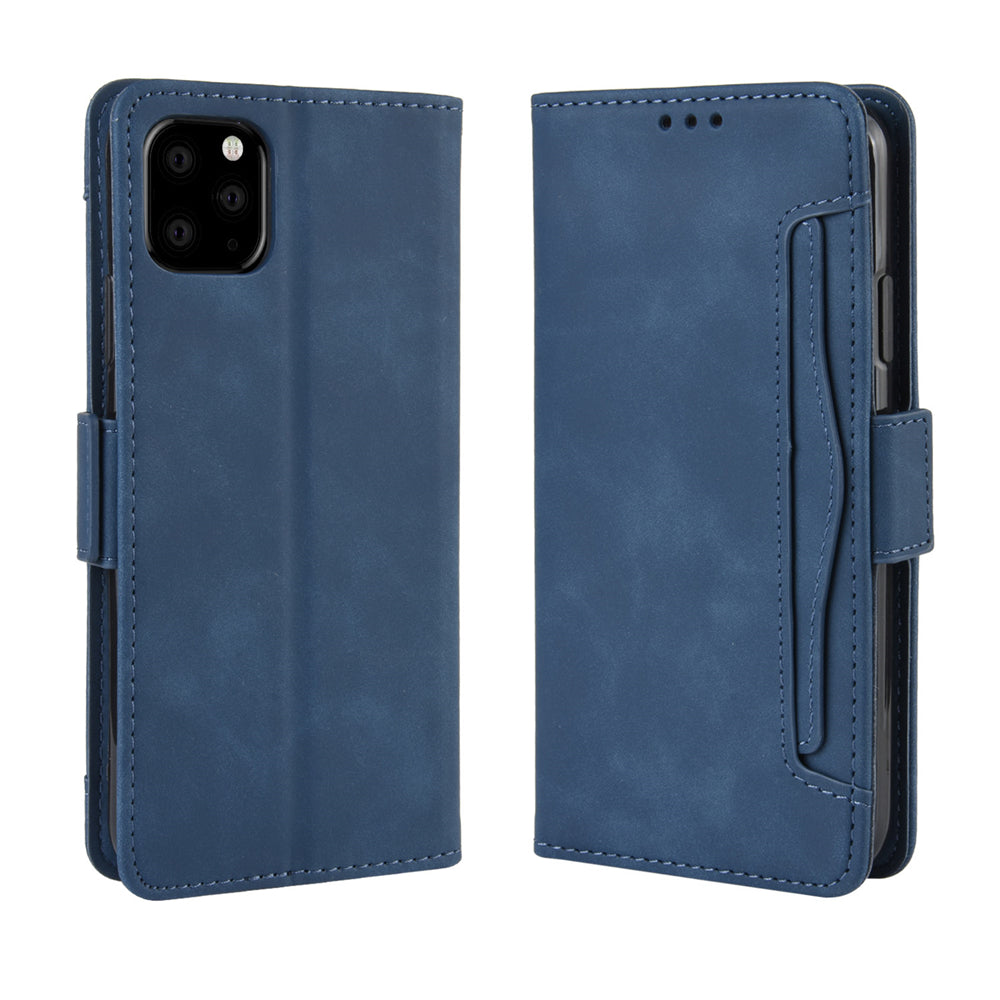 iPhone 11 Pro Wallet Case with Kickstand & Card Slots Leather Magnetic Flip Cover Blue