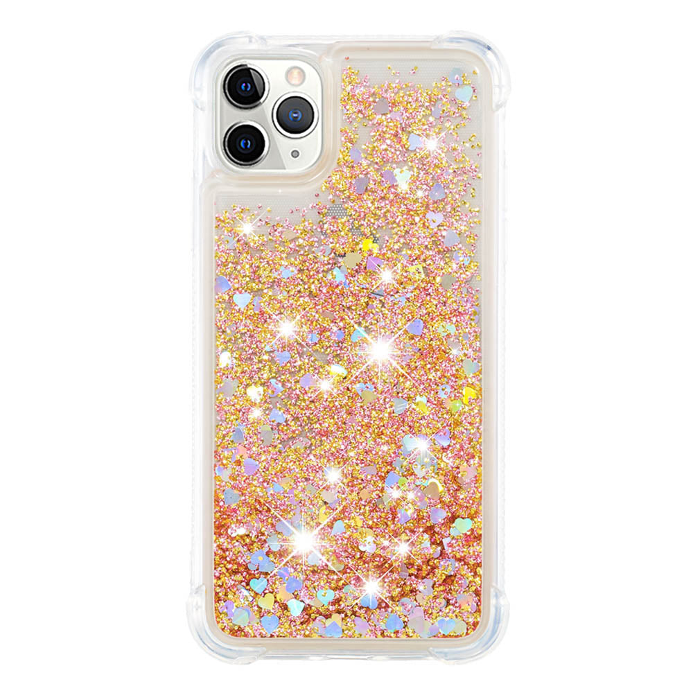 iPhone 11 Pro Case Quicksand Glitter Floating Sparkle Soft TPU Case with Reinforced Corners Gold