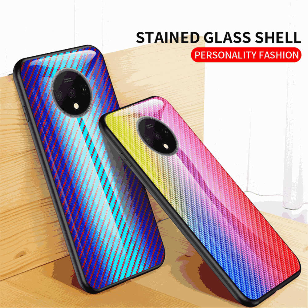 Case for Oneplus 7T Tempered Glass Back Cover Slim Transparent Anti-scratch Case Blue