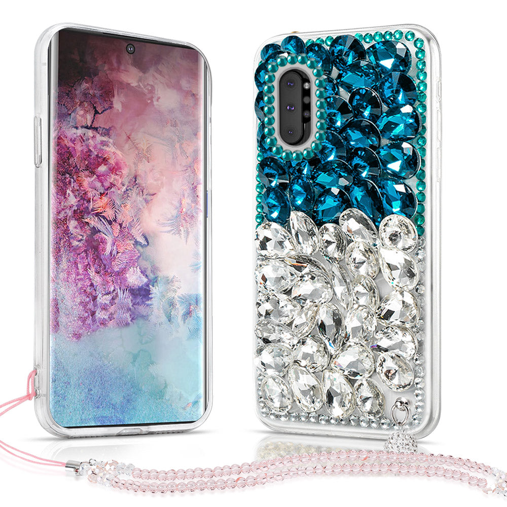 Galaxy Note 10 plus Case Glitter Phone Cover for Girls Bling Diamond Rhinestone Case Blue&White