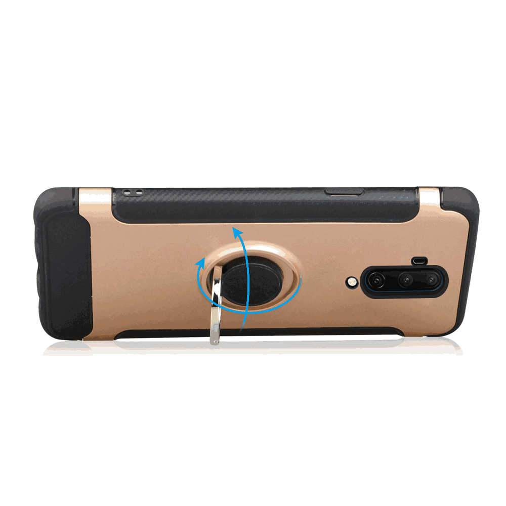 OnePlus 7T Pro Case Protective Bumper Cover with Ring Bracket Rose Gold