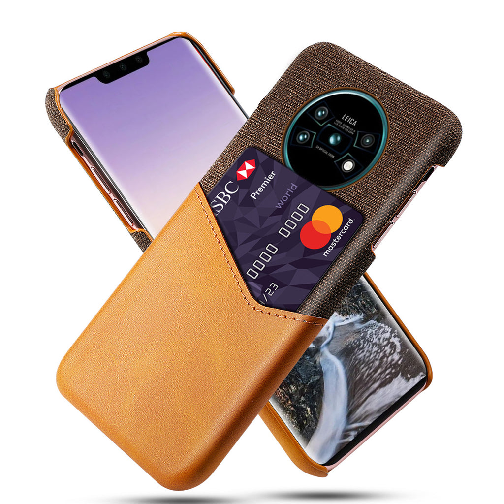 Huawei Mate 30 Case PC Hard Phone Case with Credit Card Holder Orange