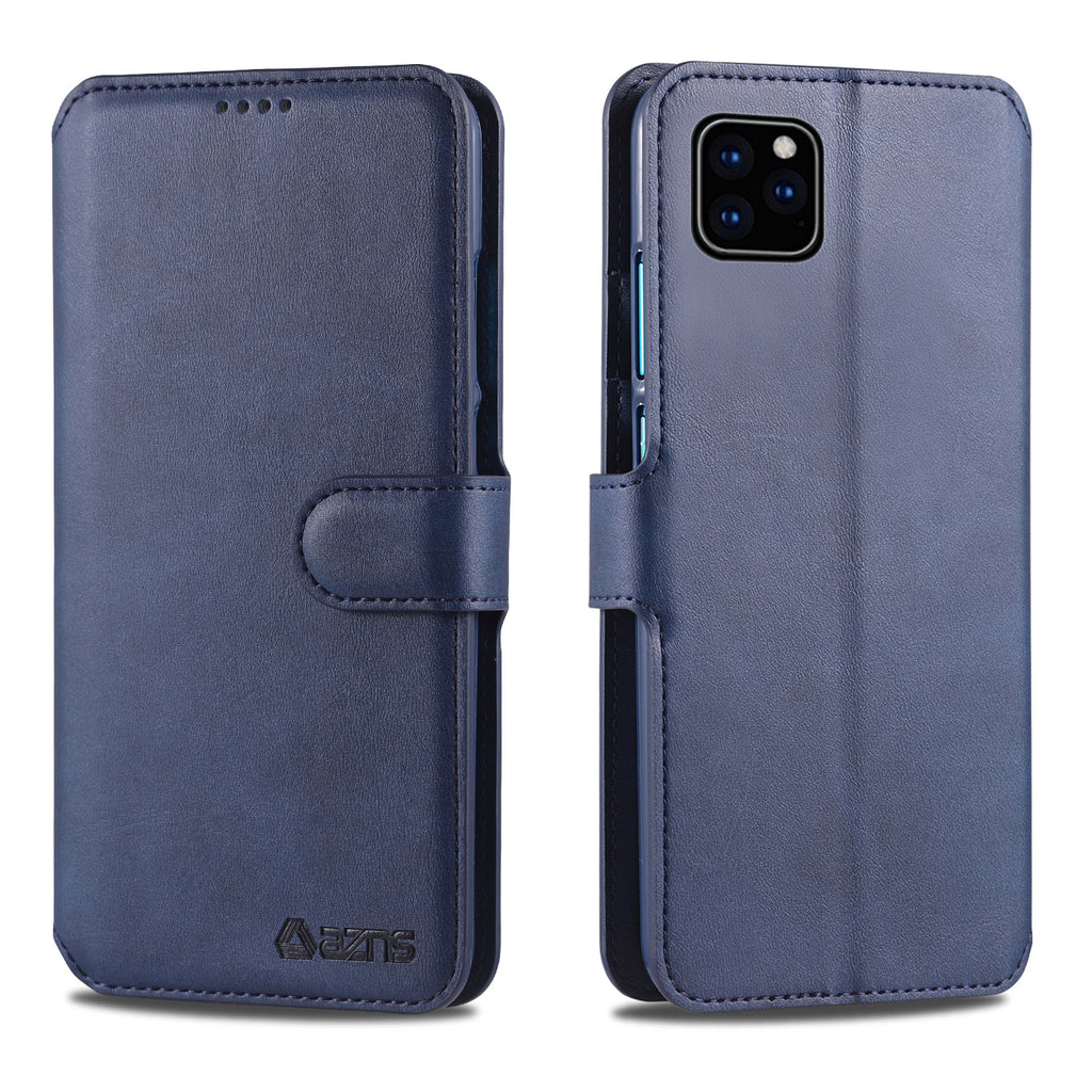 Leather Wallet Cases for iPhone 11 Magnetic Shock-Proof Slim Case Flip Cover Blue