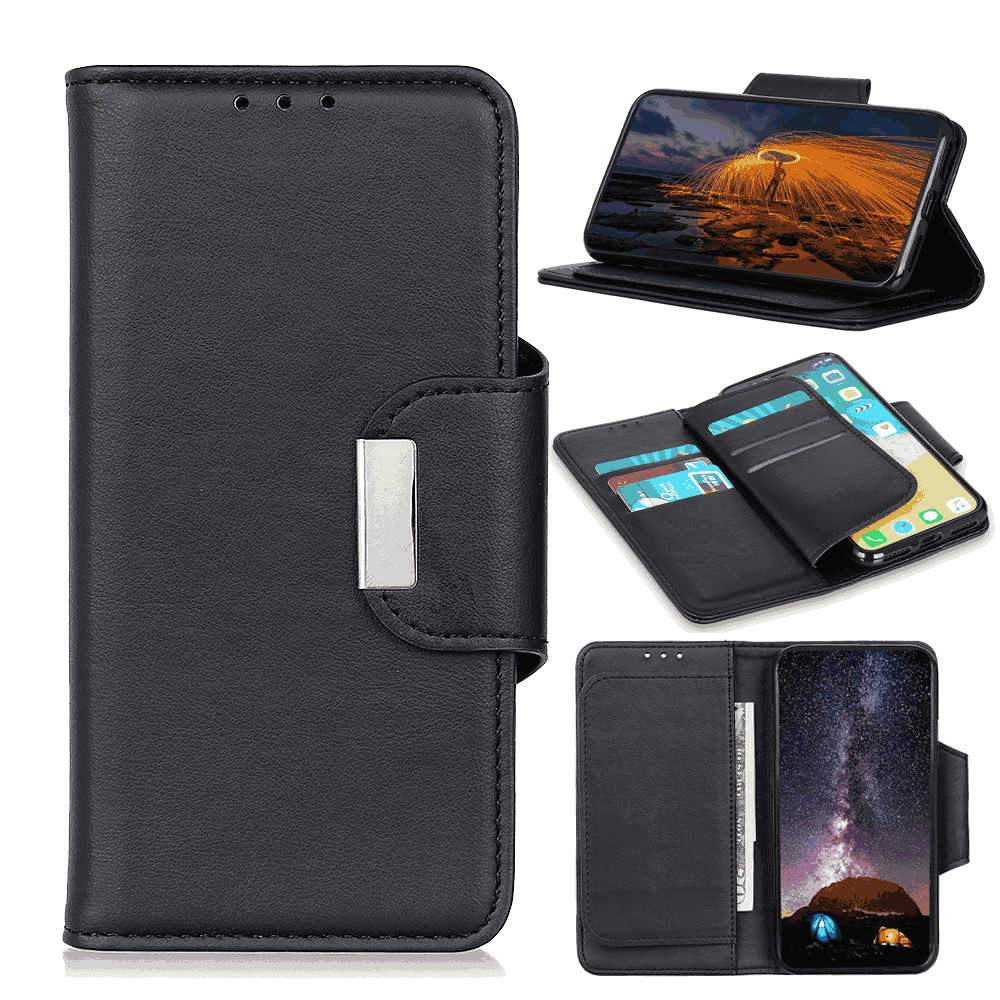 Huawei Honor V30 Case Leather Wallet Anti-scratch Cover with Multi-card Slots Kickstand Black