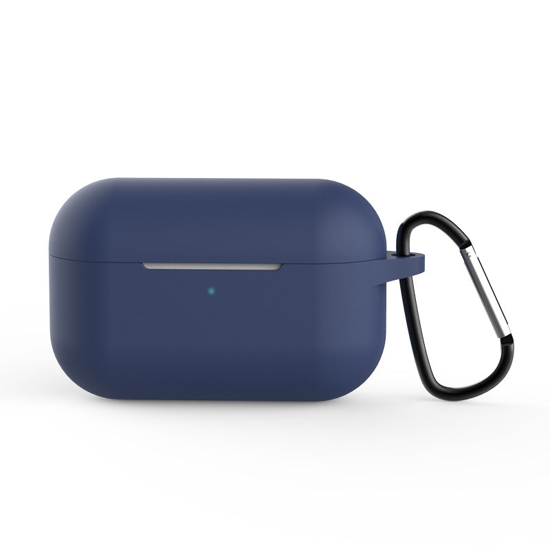 Protective Cover for AirPods Pro Charging Case with Keychain Front LED Shock-Absorbing Silicone Case Blue