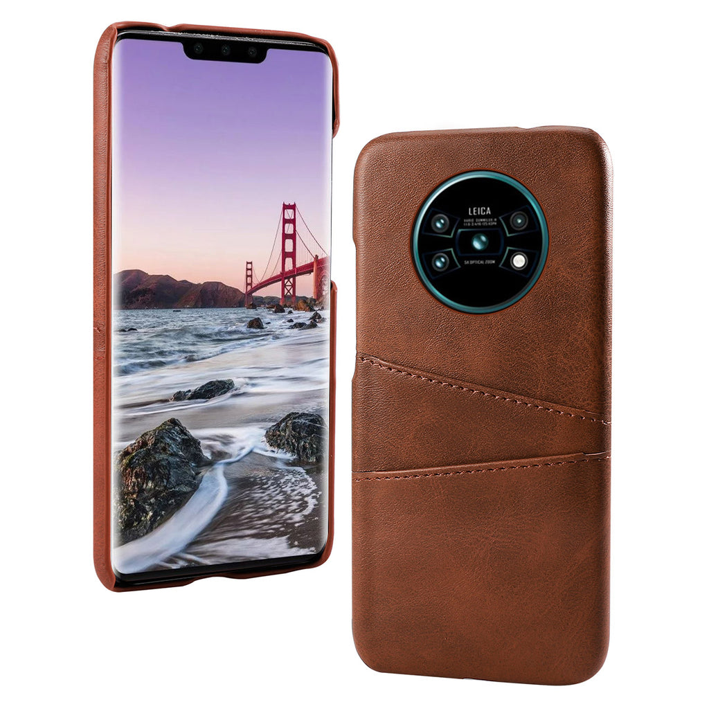 Huawei Mate 30 Pro Case Ultra Slim Shockproof PC Cover with Card Slots Dark Brown