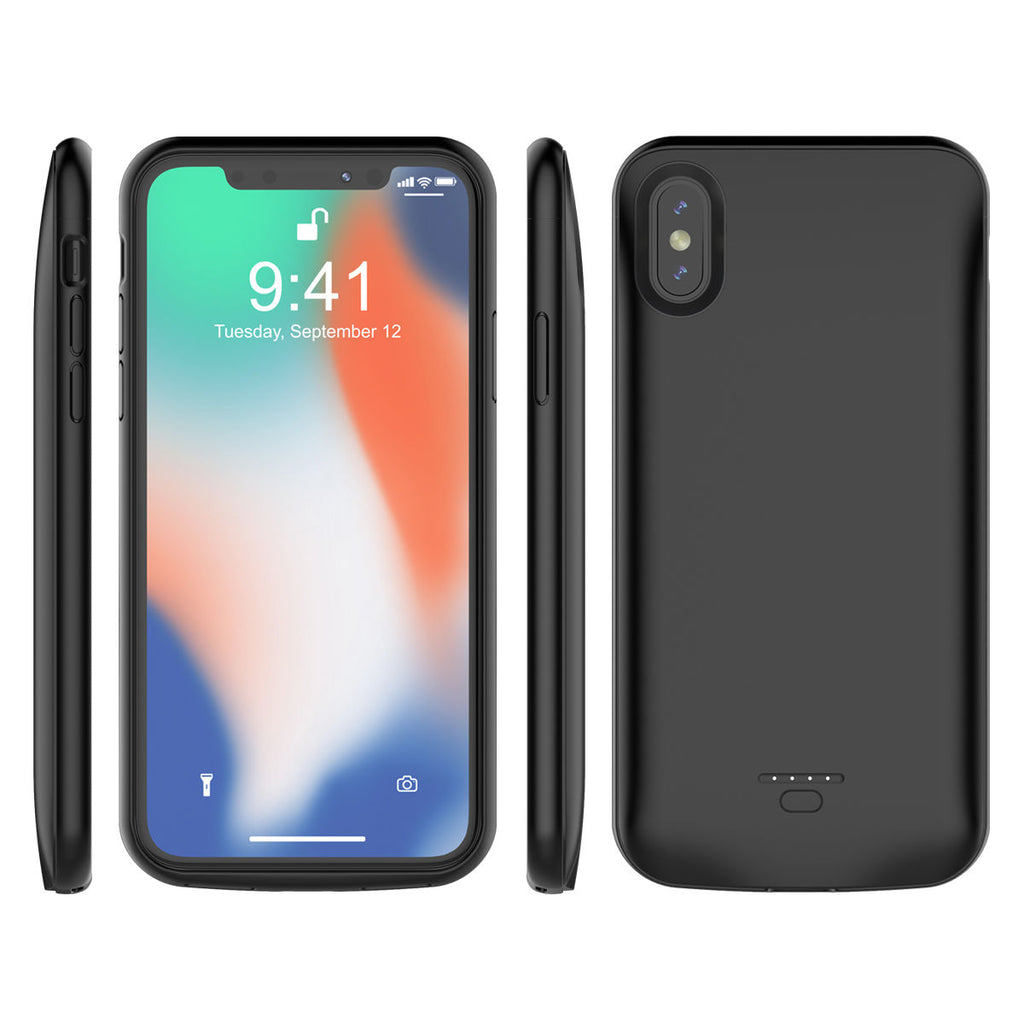 iPhone X Battery Case iPhone Xs 3600mAh External Backup Charger Cover Black