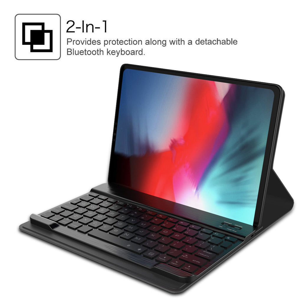 iPad Pro 12.9 Inch 2018 Keyboard Case with Backlight Wireless Tablet Leather Case with 7 Colors USA Black