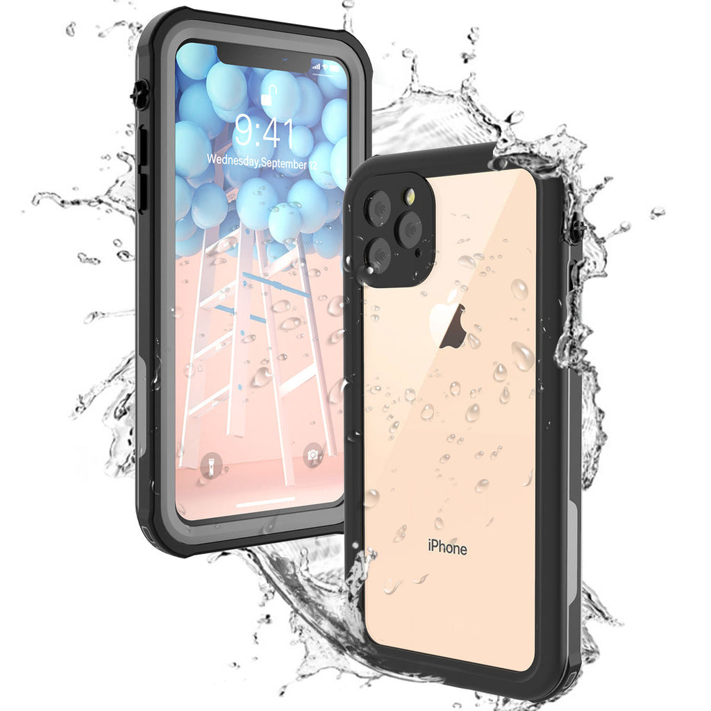 iPhone 11 pro max Waterproof Case Full-sealed TPU Shockproof Underwater Cover Built-in Screen Protector Black