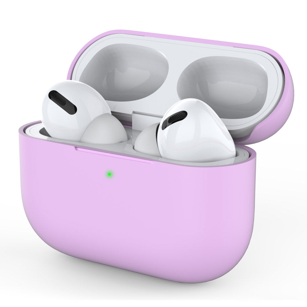 Airpods Pro Case Cover Silicone Shockproof Full Protective Case with Visible Front LED Purple