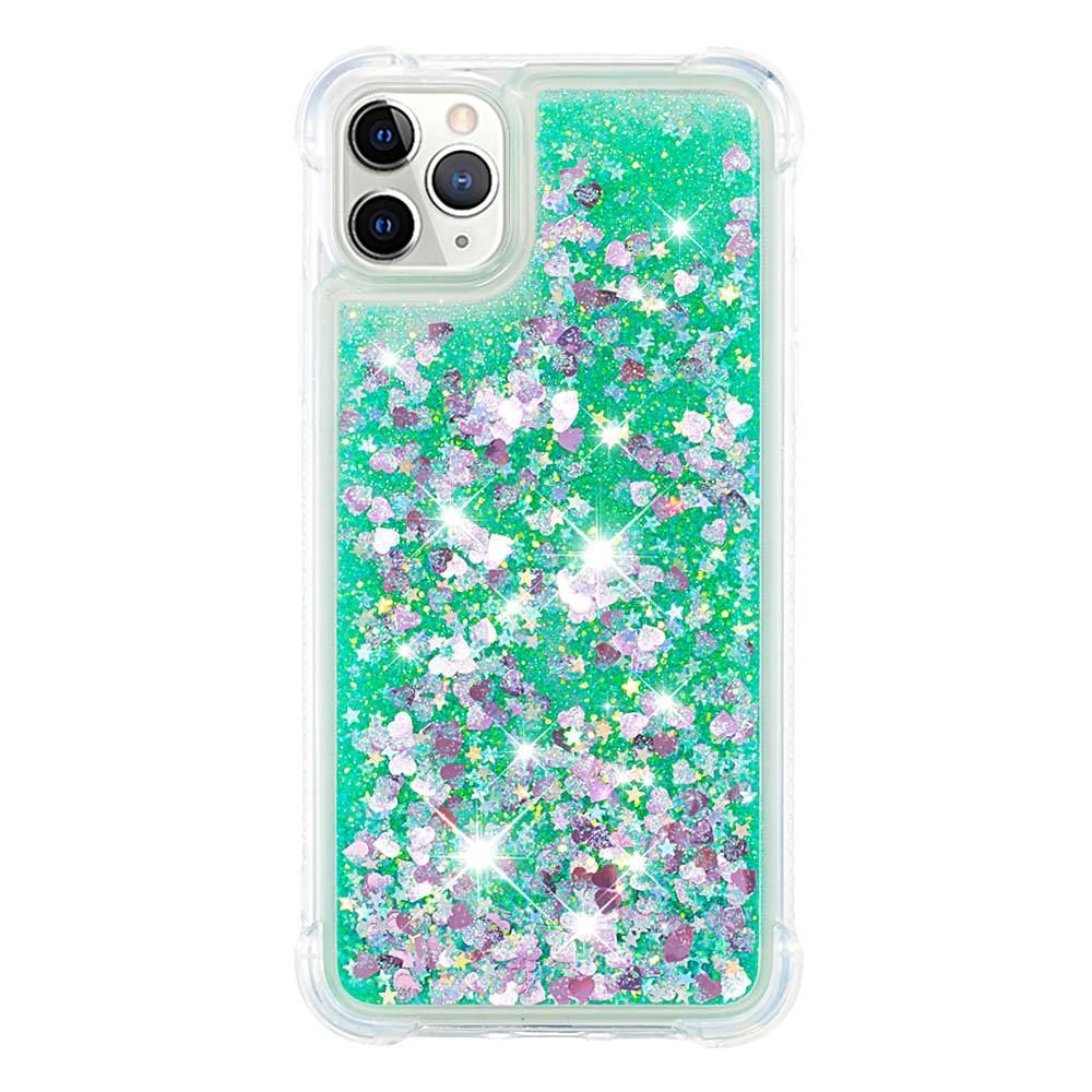 iPhone 11 Pro Case Flowing Liquid Floating Luxury Bling Glitter Sparkle Soft TPU Case Green