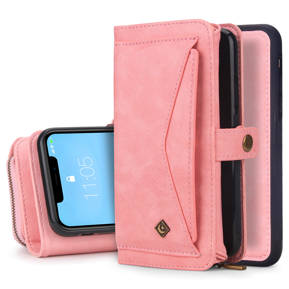 iPhone 11 Wallet Case Folio Zipper Cash Storage Leather Purse with Removable Magnetic TPU Case Pink