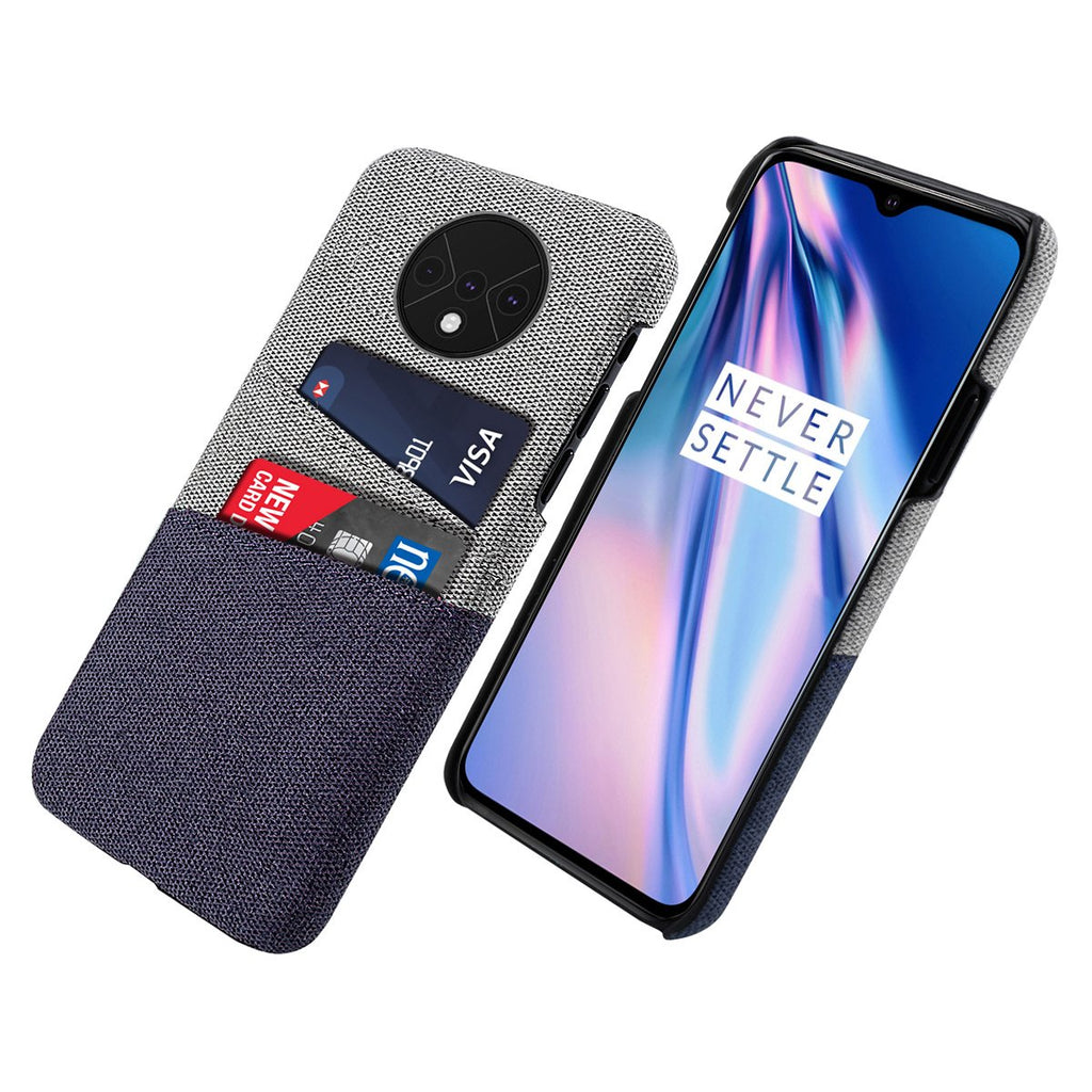 OnePlus 7T Case with 2 Cards Holder Ultra Thin Anti-Scratch Protective Fabric Cover Blue