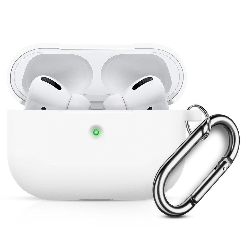 Silicone Airpods Pro Case with Keychain Front LED Visible Thicken Protective Cover for AirPods Pro 2019 White