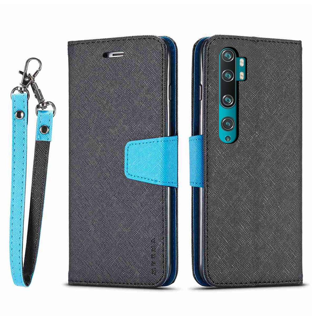 Xiaomi Mi Note 10 Leather Case Folio Flip Case with Kickstand Card Holders Wallet Phone Case Cover Black