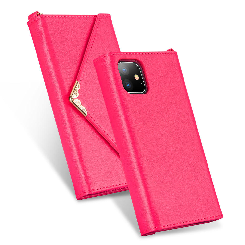 Leather Case for iPhone 11 pro Envelope Style Purpse with 2 Card Slots for Girls Pink