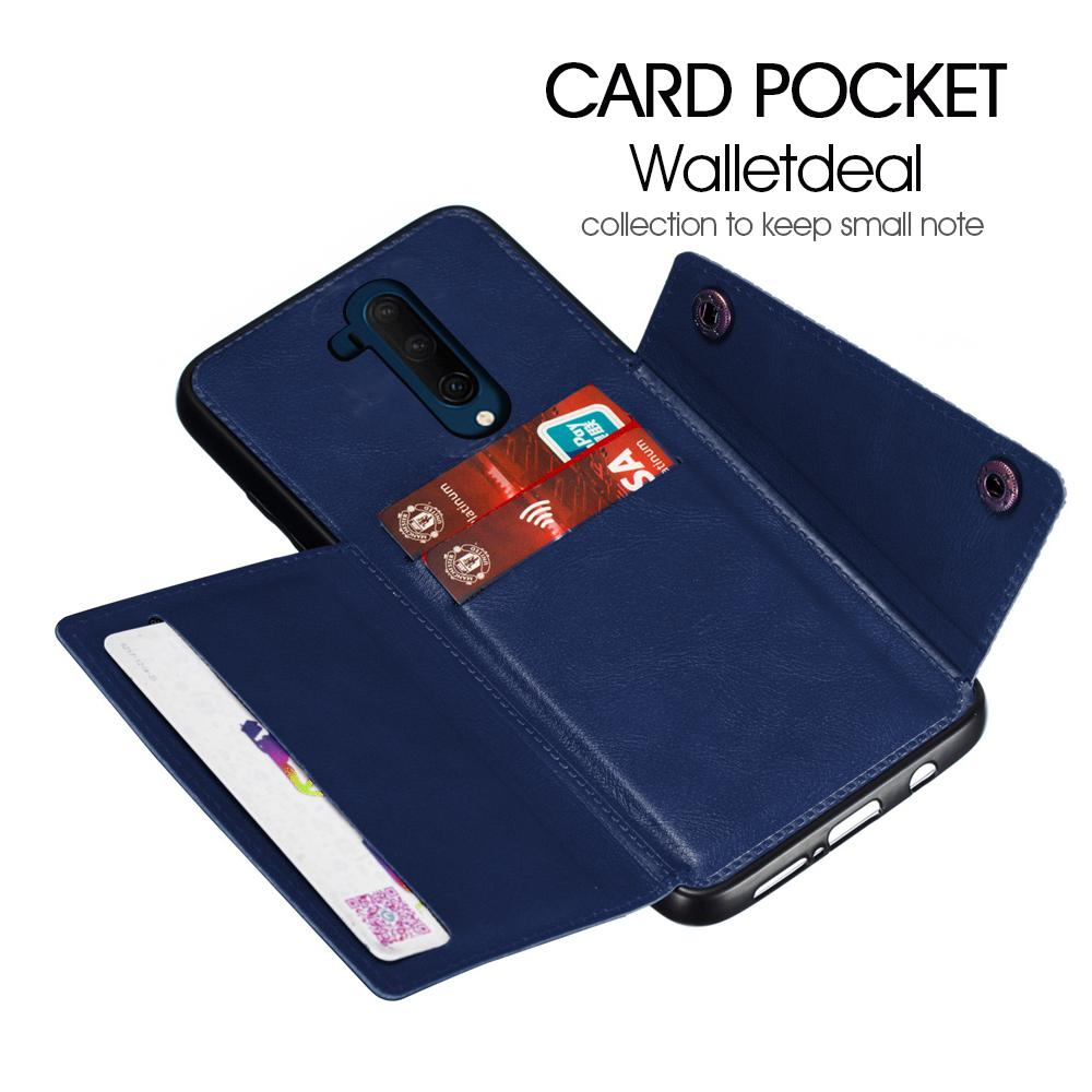 Oneplus 7T Pro Wallet Case with Card Holder & Stand Shockproof Case Blue