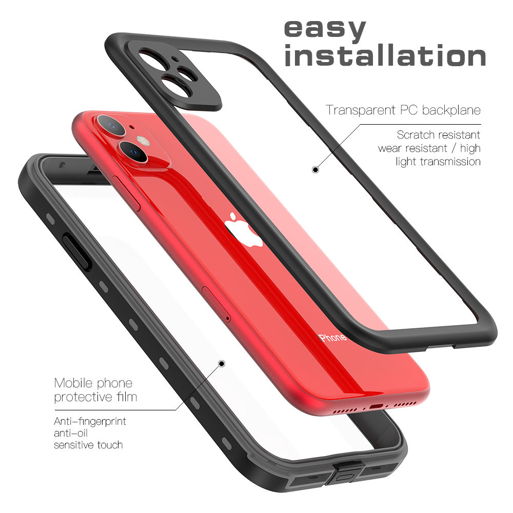 iPhone 11 Waterproof Case Built-in Screen Protector 360 Protection Clear Shockproof IP69K Certified Cover Grey