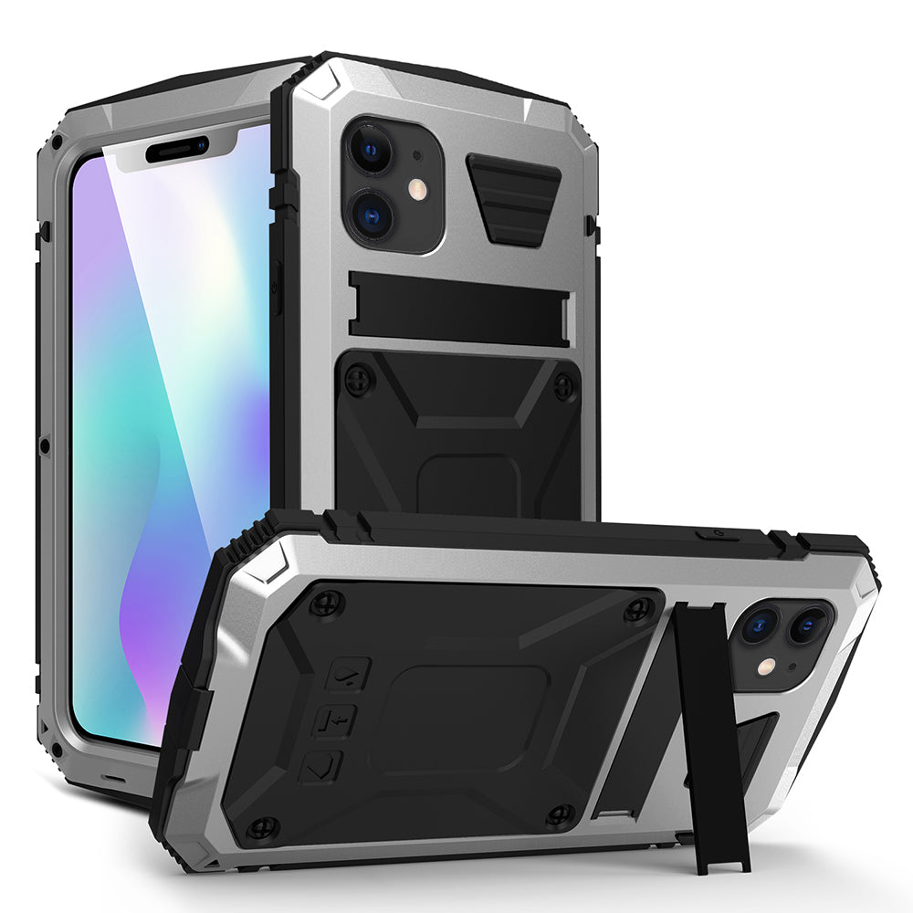 iPhone 11 Case Shockproof Hybird Metal Case with Screen Protector Silver