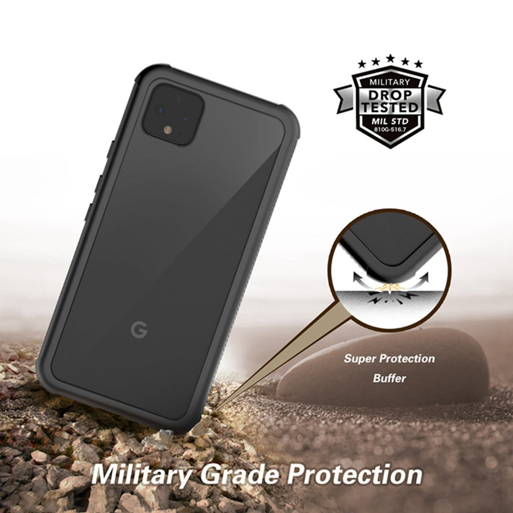 Case for Pixel 4 with Built-In Screen Protector Full-Body Rugged Dustproof Case Black