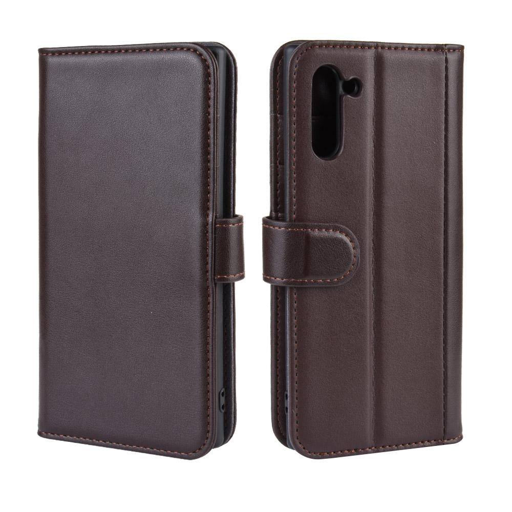 Genuine leather case for Galaxy Note 10 card holder folio wallet with stand brown