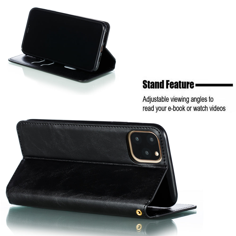 Leather Wallet Case for iPhone 11 Flip Folio Case Cover with Card Slots Note Pockets Black