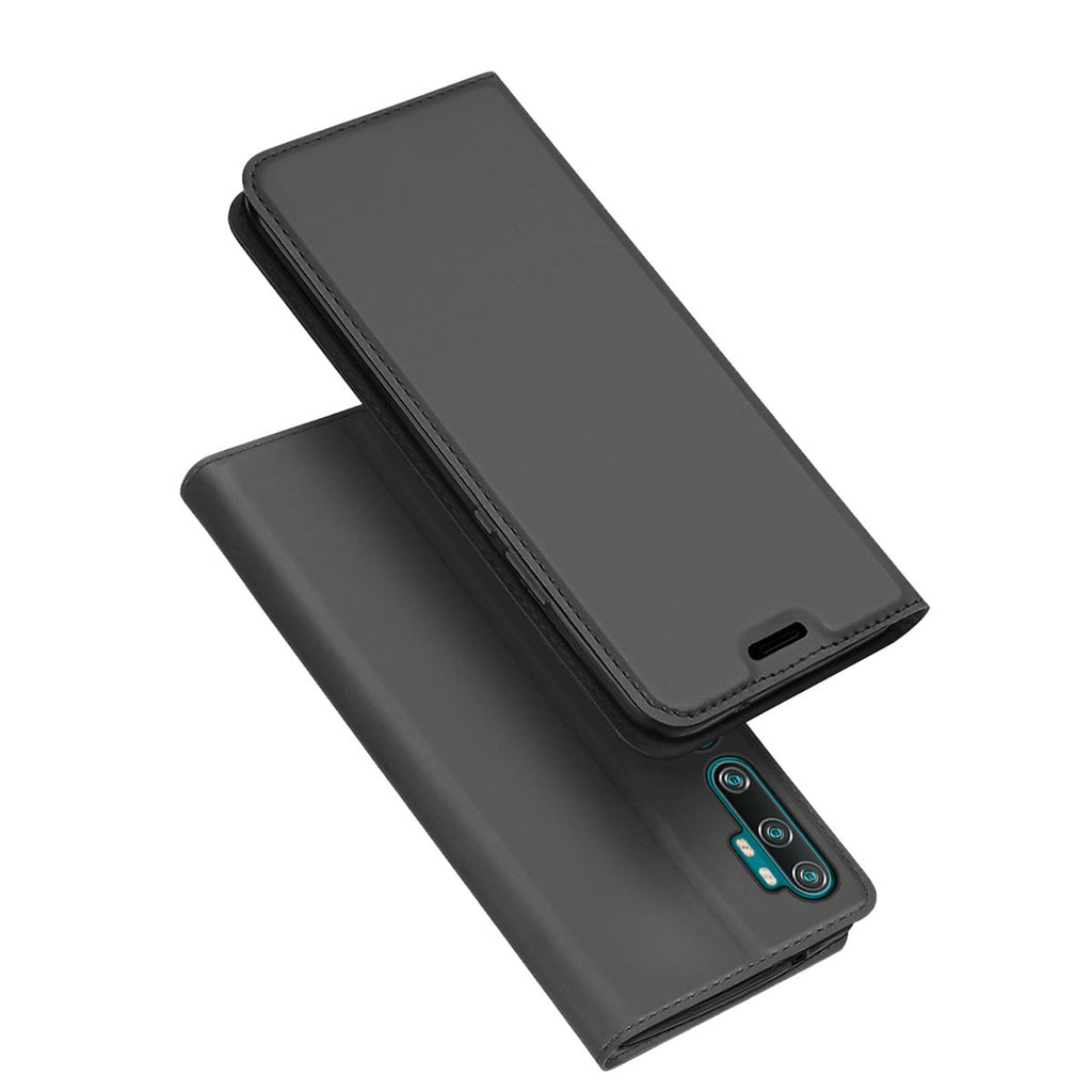Xiaomi Mi Note 10 Leather Case Flip Wallet Case with Kickstand Card Slot Protective Cover Grey