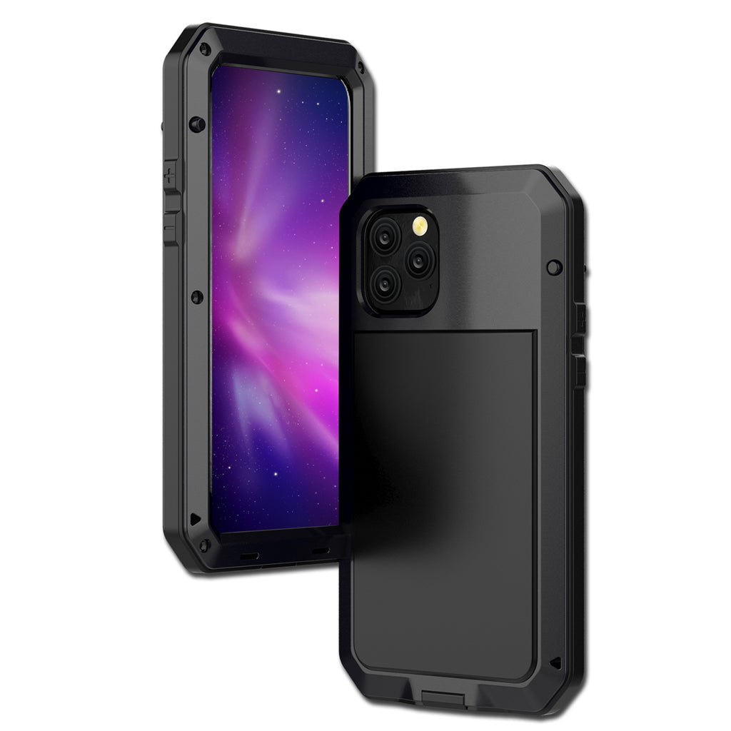Case for iPhone 11 pro max Military Grade Anti Drop Heavy Duty Metal Cover Built-in Screen Protector Black