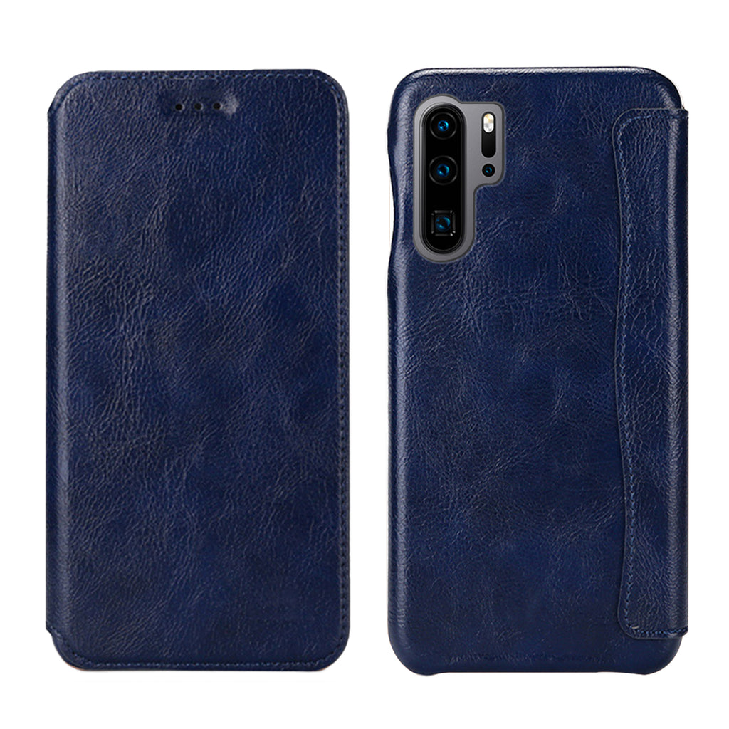 Huawei P30 Pro Leather Case Moonmini Design Shockproof Card Case Wallet Blue