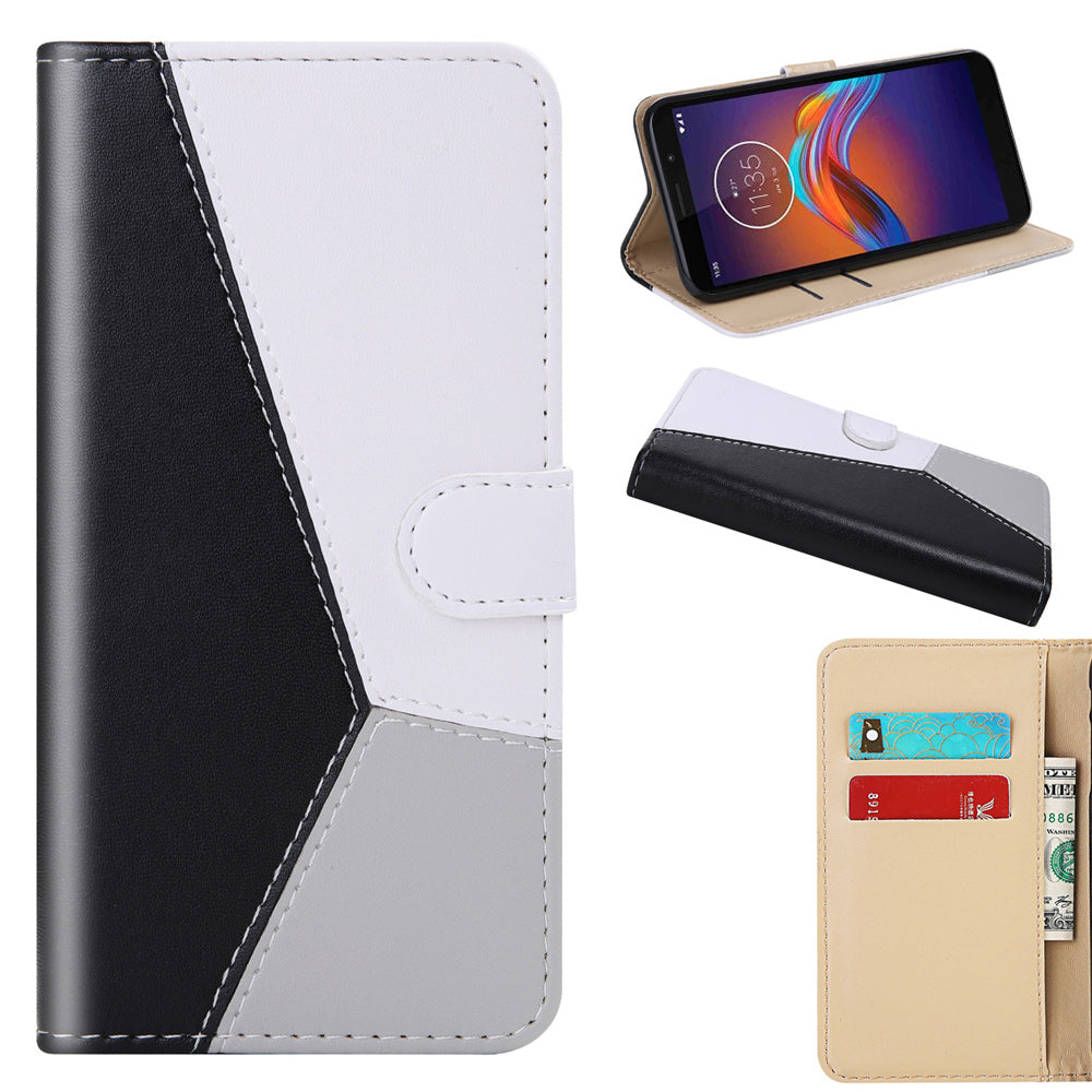 Moto E6 Play Leather Case Flip Stand with Card Slots Wallet Case Black