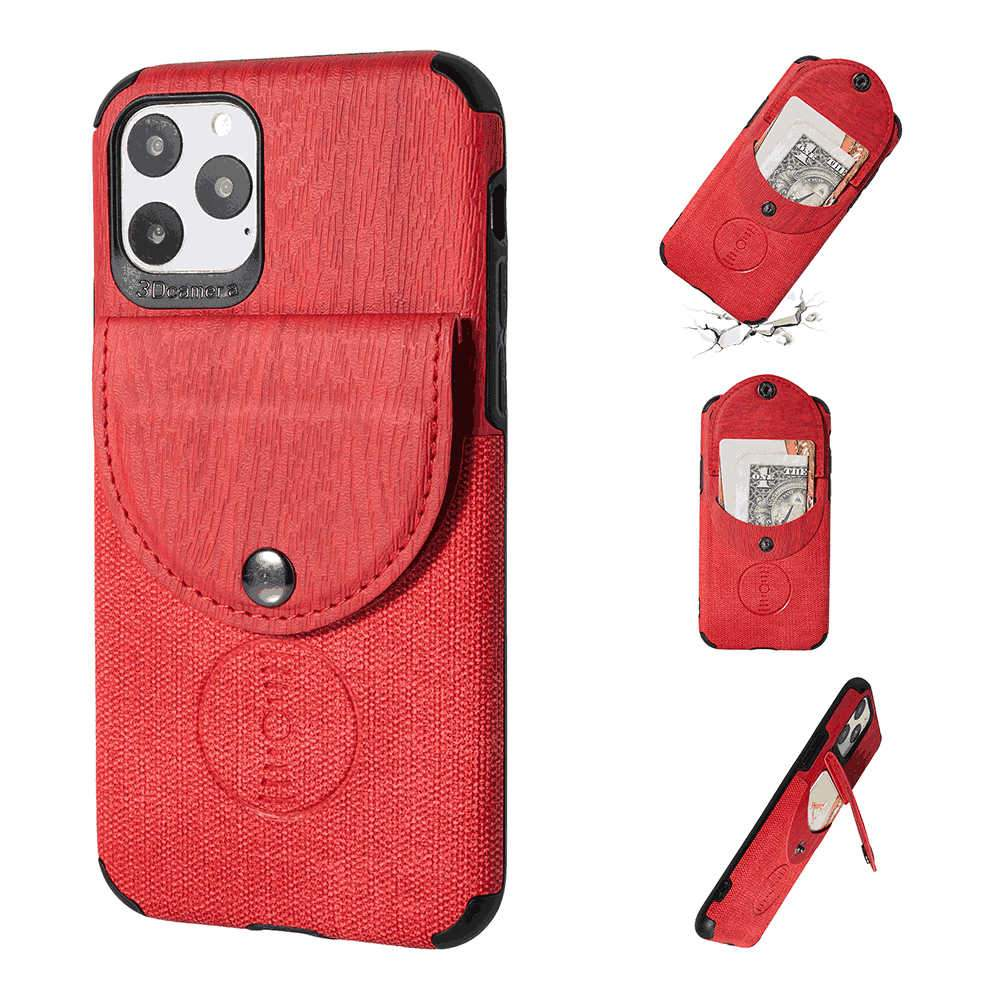 iPhone 11 Pro Case Slim Fit PU Leather Luxury Cover Shockproof Cases with Card Slot Red