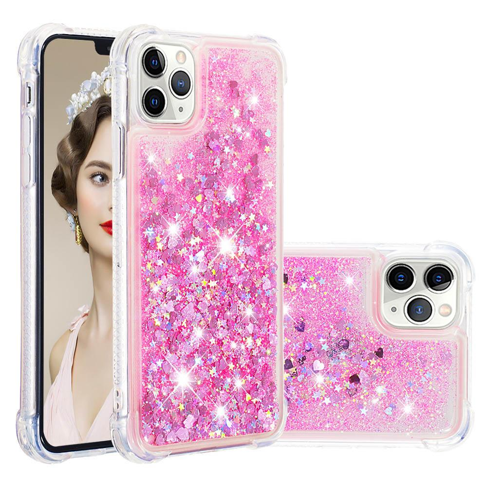 iPhone 11 Pro Max Case Bling Flowing Liquid Floating Sparkle TPU Protective Case Pink