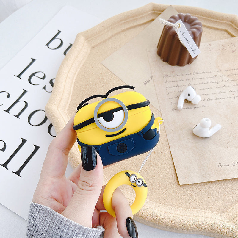Airpods Pro Case 3D Cute Cartoon Shockproof Protective Cover Skin Compatible with Apple Airpods 3 Gen Minion
