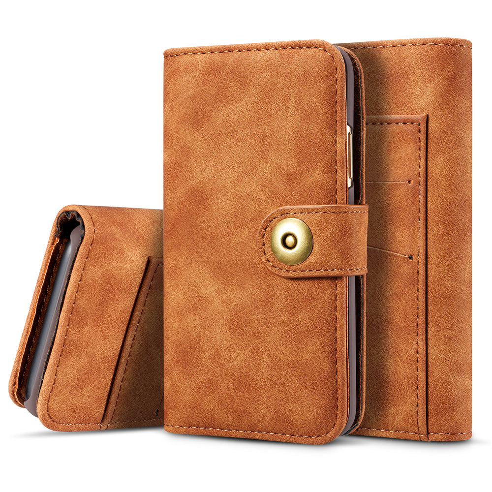 iPhone 11 pro Leather Cases Flip Stand Cover with Card Holder Detachable Phone Cover Brown