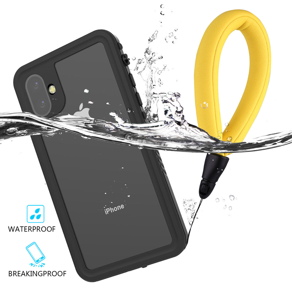 iPhone 11 Waterproof Case Shock Drop Proof Rugged Cover with Floating Strap Black