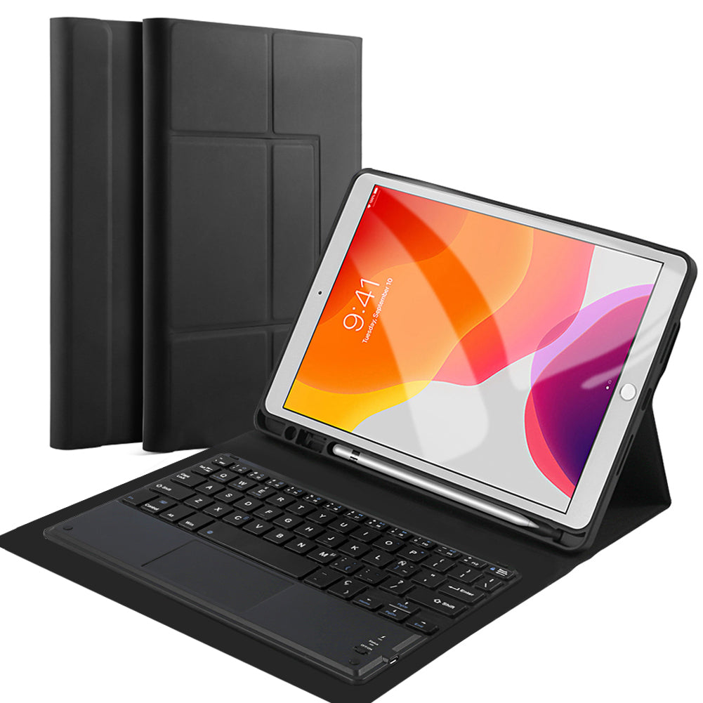 10.2 Inch iPad Case Keyboard + Leather Cove Built-in Multi-Angle Stand Removable Wireless Keyboard (American)