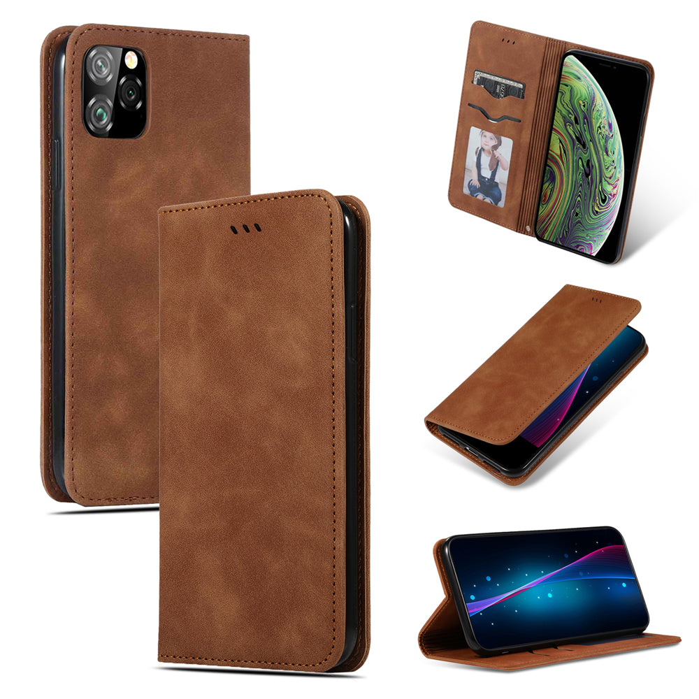 iPhone 11 Wallet Case Business Leather Silk Cover Protective Shell with Card Slots Brown