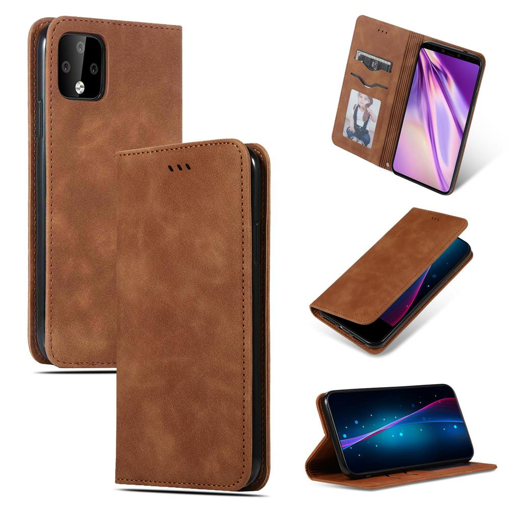 Pixel 4 Wallet Case Business Leather Stand Case with Card Slots Brown