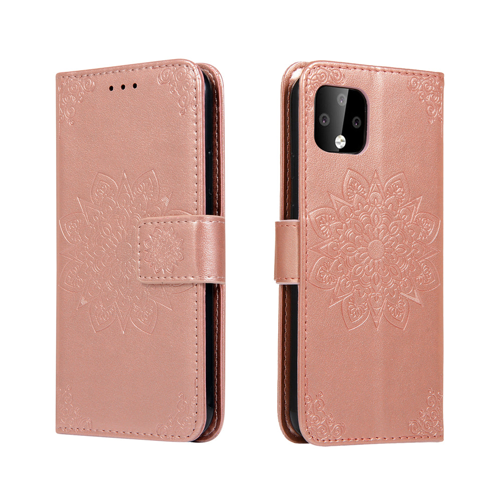 Pixel 4 Leather Cover Kaleidoscope Style Flip Leather Stand with Card Holder Wallet Rose Gold