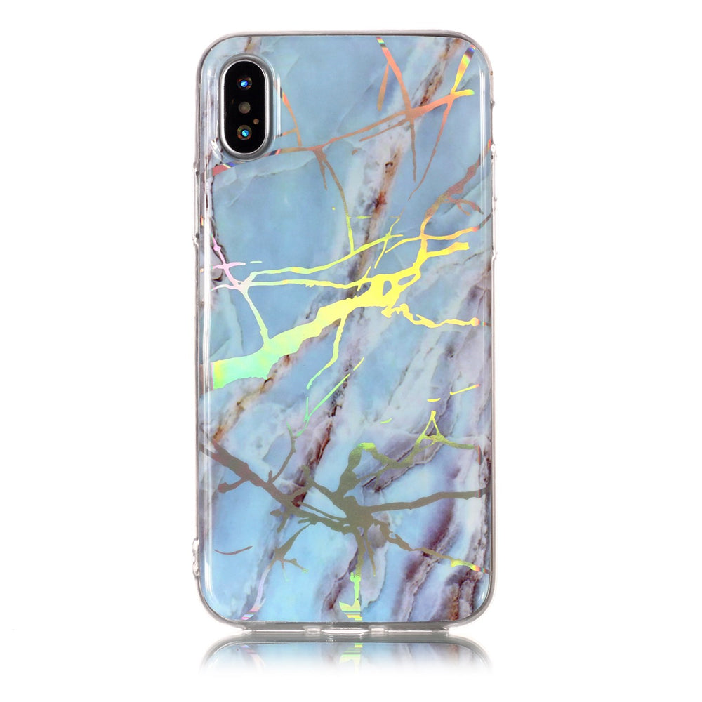 Marble iPhone Xs Case Ultra Slim Fit Soft TPU Marble Phone Case Anti-Scratch Protective Cover Light Blue