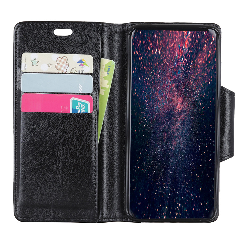 Google Pixel 3 Flip Wallet Case with Card Slots and Stand Function Cowhide Grain PU Leather Black