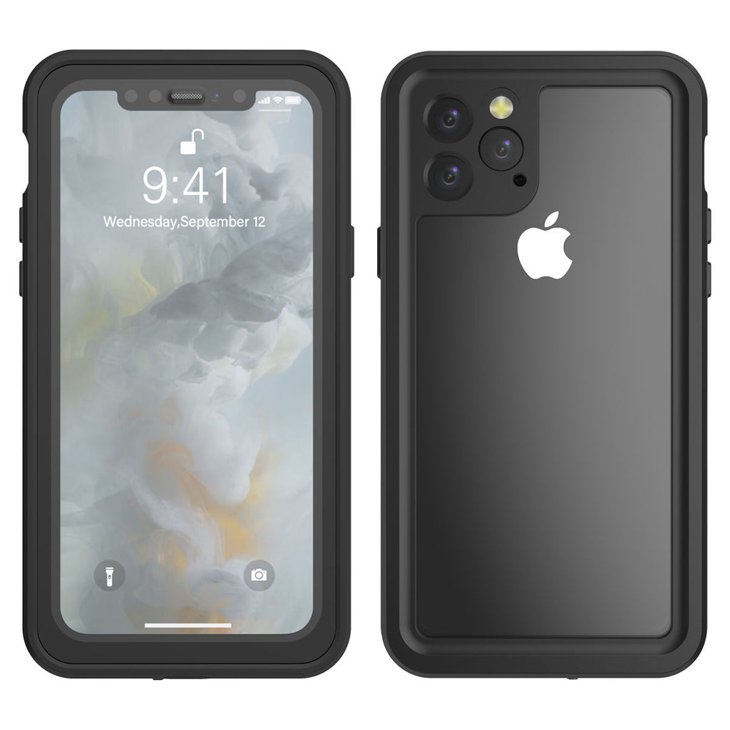 iPhone 11 pro Waterproof Case 360 Full-sealed TPU Shockproof Cover Built-in Screen Protector Black