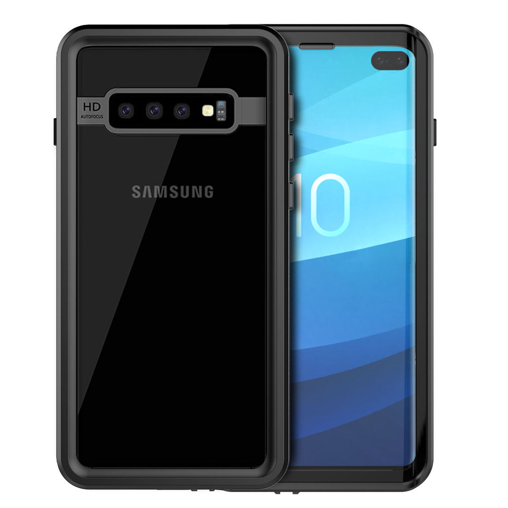 Samsung Galaxy S10 Plus Waterproof Case IP68 Certified with Built in Screen Protector Best Front Protection Black
